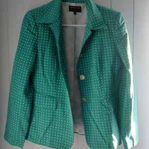Beautiful polkadot green and white blazer